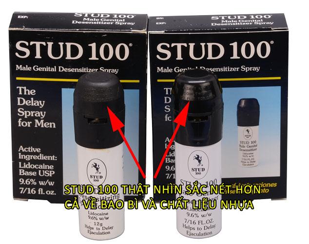 phân biệt chai xịt stud 100 nắp